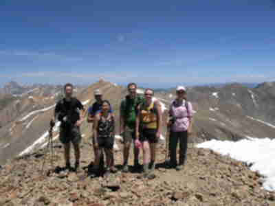 Lonny, Brad, Shari, Brian, Lisa, and Tracy on Sunshine Peak
