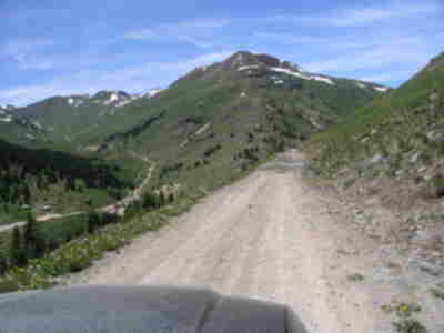 Descending Cinnamon Pass down into the ghost town of Animas Forks