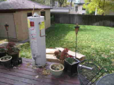 The old water heater, put out to pasture...