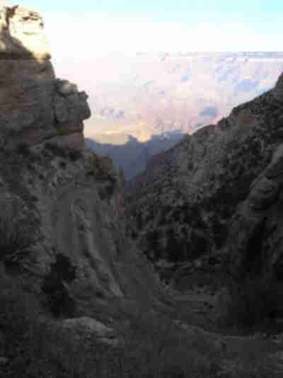 Descending down the switchbacks of the South Kaibab trail