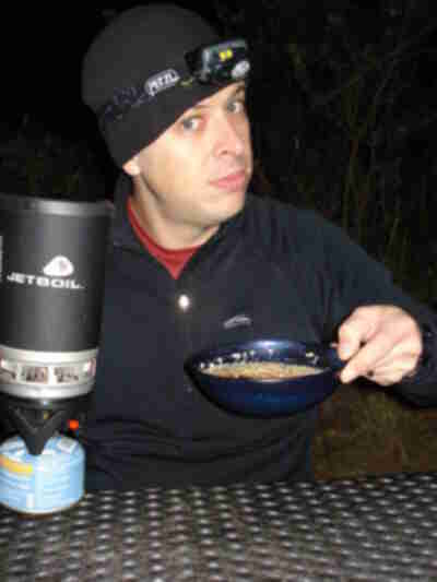 Oatmeal and a Jetboil - what else could a growing boy need?