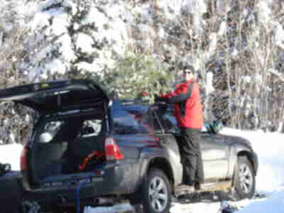 Brian, attaching the tree to the car