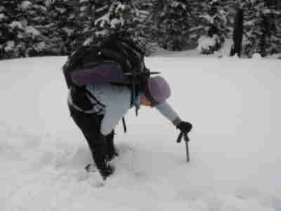 Lisa measures the depth of the snow - about 3 feet deep!