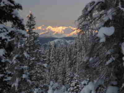Castle Peak (left) and the Elk Mountains at sunrise
