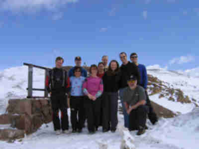 The group (most of us anyway) at the top of Loveland Pass