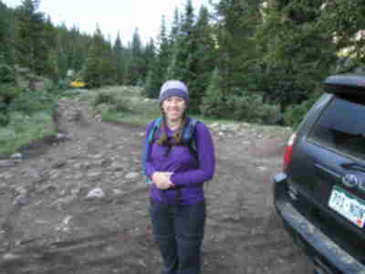 Lisa, prepared to hike