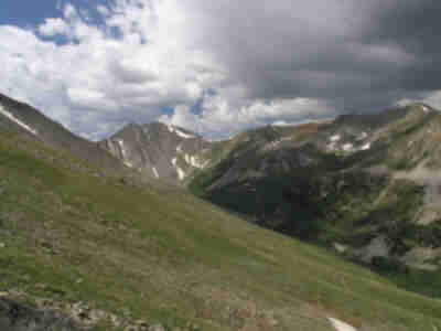 Storm clouds begin to build above La Plata Gulch