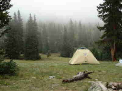 Our tent, in the fog/cloud of the valley