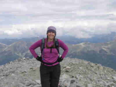 Lisa on the summit of Mt. Antero