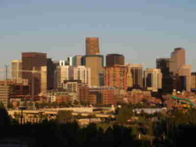 The Denver skyline from the west