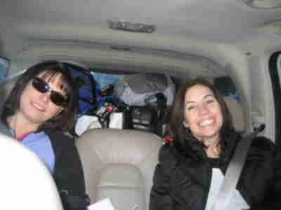 Jen and Elizabeth in the car