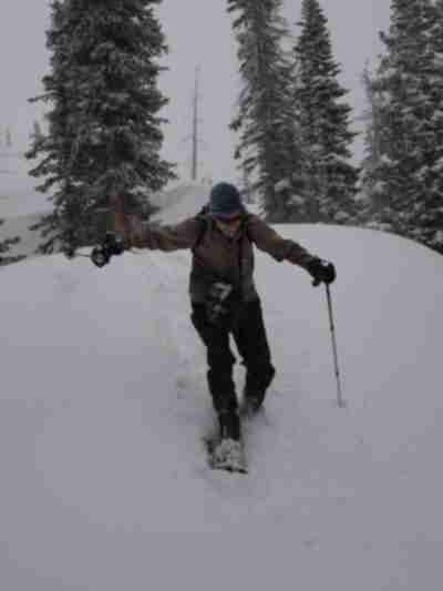 Lonny has fun descending a snowy ridge