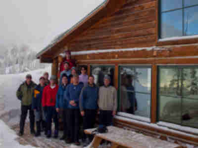 The Eiseman Hut group: Doug, Jim, Lonny, Roy, Gerri, Shaun, Rurik, Tory, Jami, Susan, Brian, and Jay