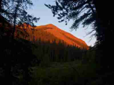 Alpenglow on a ridgeline
