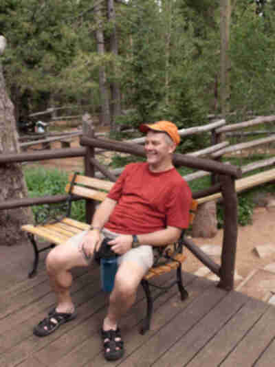 Alan relaxes at camp