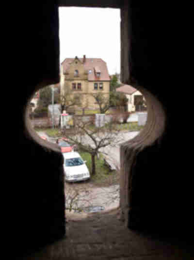 Looking through the city wall in Rothenburg