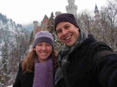 Brian and Lisa in front of Neuschwanstein Castle