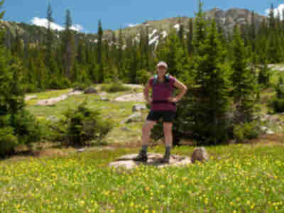Lisa in a field of avalanche lilies