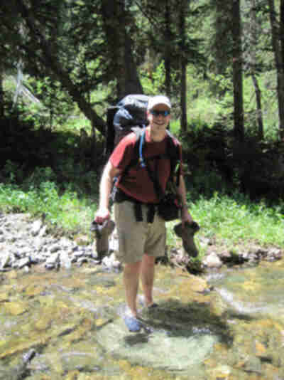 Brian crosses the stream
