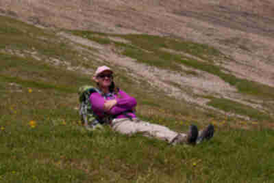 Lisa relaxes in the meadow