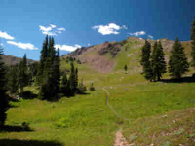 The trail leading up to Eccles Pass