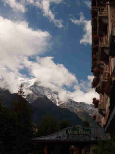 The hotel Mont-Blanc in front of Mont Blanc in Chamonix