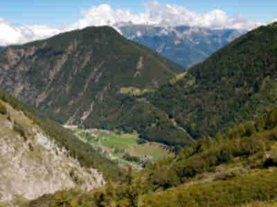 Trient (4268 ft) and Col de La Forclaz (5017ft) in the valley below