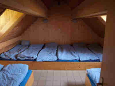 One of the dorm rooms in the cabane