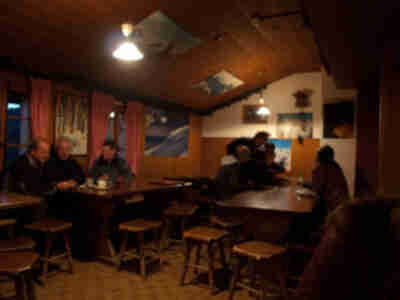 Inside the dining area of the cabane