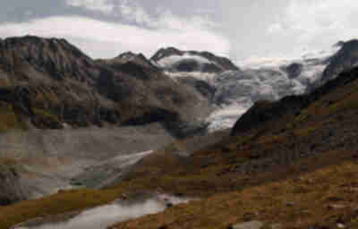 Our first view of Glacier de Moiry as we descend from Col du Tsate