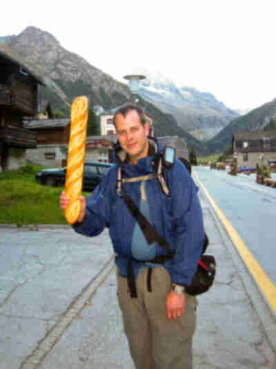 Brian is ready to hit the trail now that he's procured a baguette