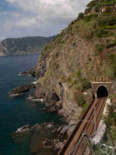 The train tunnel leading to Vernazza