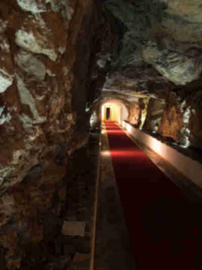 The cave that lead from the street level to the elevator up four stories to our castle...cool, huh?