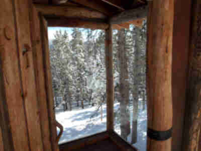 The glass walls of the outhouse