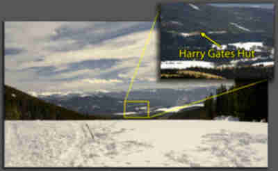 Zoomed in on the location of Harry Gates Hut, seen from the deck of Peter Estin