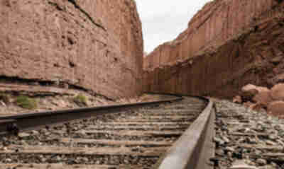 Railroad cut through the sandstone