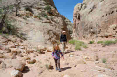 Hiking through Grand Wash in Capitol Reef National Park