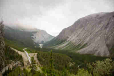 A gloomy view of the Icefields Parkway