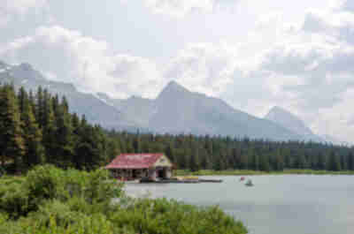 On the shores of Maligne Lake