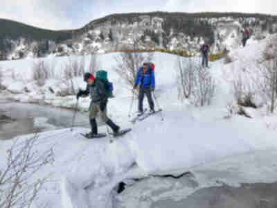 Crossing the Eagle River on a snow bridge